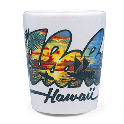 Ceramic Shot Glass, Eddy Y - Aloha - Hawaii
