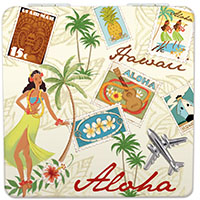 Compact Mirror Stamped with Aloha