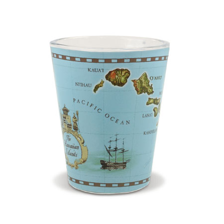 Short OPP Shot Glass, Islands of Hawaii - Blue