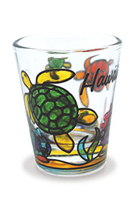 Stained Glass Shot Glass, Happy Honu