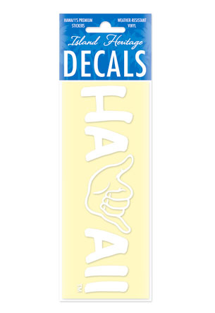 Decal Small Banner, Shaka Hawaii White