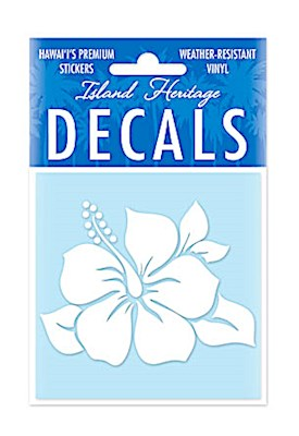Decal Square, Single Hibiscus White