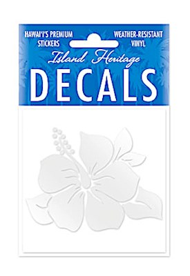 Decal Square, Single Hibiscus Silver