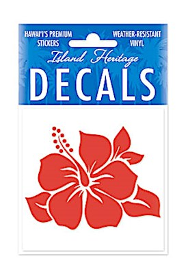 Decal Square, Single Hibiscus Red