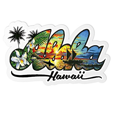 Decal Small Banner, Eddy Y - Aloha Hawaii