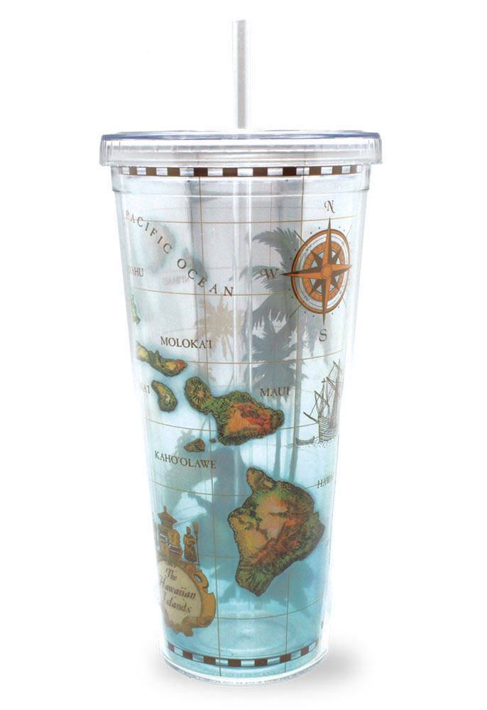 24 oz. Travel Tumbler with Straw Hawaii Map