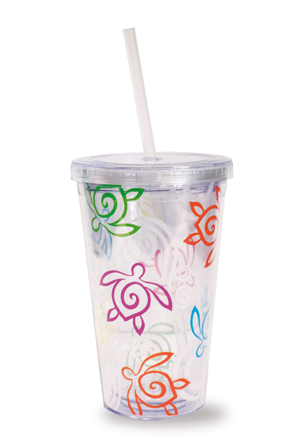 Travel Tumbler with Straw Honu Swirl-Rainbow