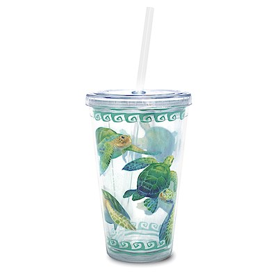 Swimming Honu 16 oz. Travel Tumbler with Straw