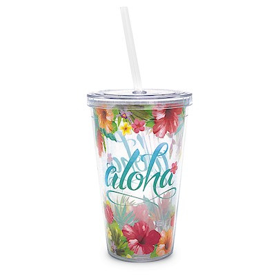 Aloha Floral 16 oz. Travel Tumbler with Straw