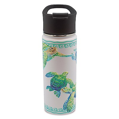 18.6 oz. Island Flask, Swimming Honu - White