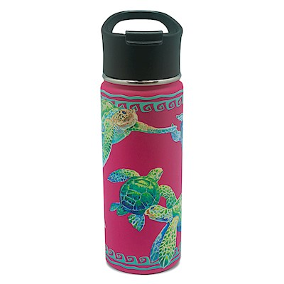 18.6 oz. Island Flask, Swimming Honu - Pink