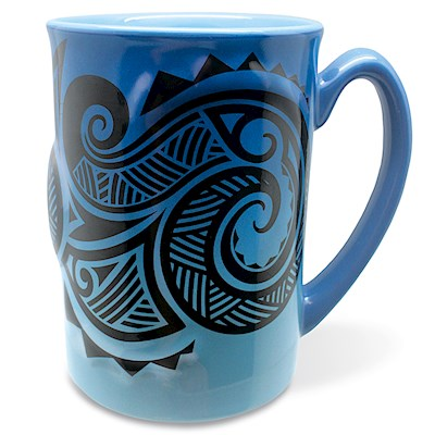 14 oz. Embossed Mug, Tribal Blue