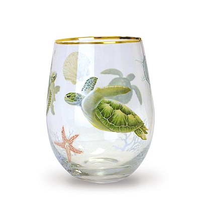 Coastal Stemless Wine Glass, Honu Voyage