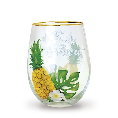 Coastal Stemless Wine Glass, Life Is Sweet