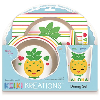 Bamboo Fiber Dining Set, IY Friends Pineapple Pals