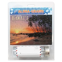 Island Aloha-Grams Puzzle 5x7 Postcard, Turtle Sunset