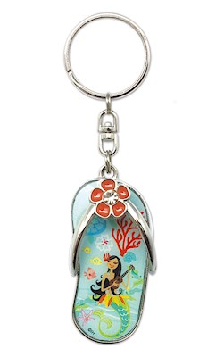 Metal Slipper Keychain, Island Hula Mermaids