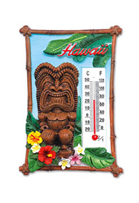 HP Polyresin Thermometer Magnet, Tiki Floral