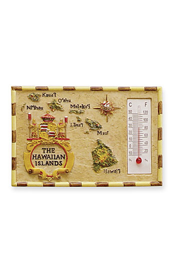 HP Polyresin Thermometer Magnet, The Hawaiian Islands