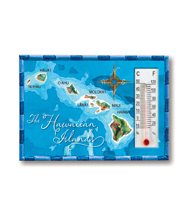 HP Polyresin Thermometer Magnet, Hawaii Map - Blue