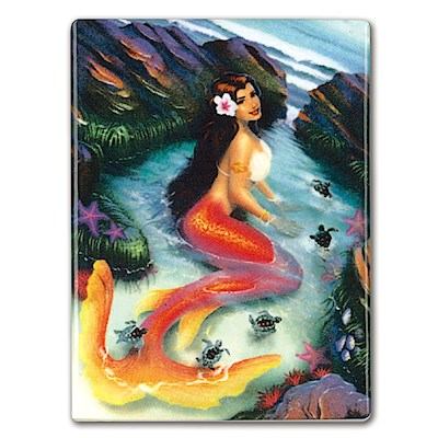 Rectangular Ceramic Magnet, IH Mermaids - Coral