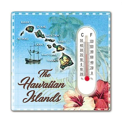 Thermometer Ceramic Magnet, Hawaiian Islands - Blue