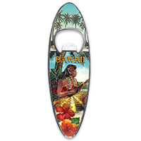 Bottle Opener Foil Embossed Magnet, Surfboard - Vintage Hawaii