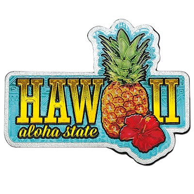 Foil Magnet, Hawaii Pineapple