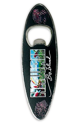 Bottle Opener Foil Embossed Magnet, Surfboard - Eddy Y - Hawaii Big Island