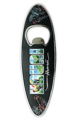 Bottle Opener Foil Embossed Magnet, Surfboard - Eddy Y - Kauai Hawaii