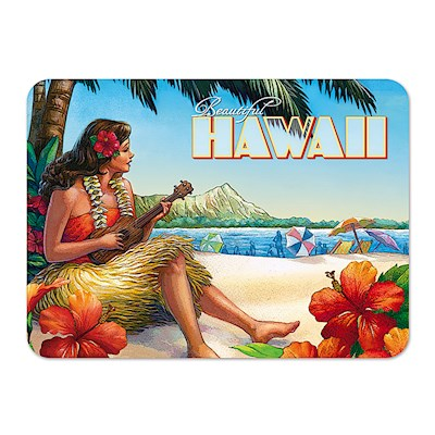 Die-Cut Tin Picture Magnet, Vintage Hawaii