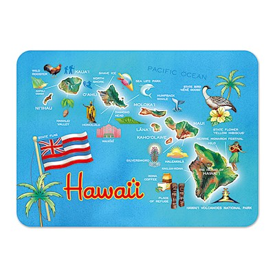 Die-Cut Tin Picture Magnet, Highlights of Hawaii