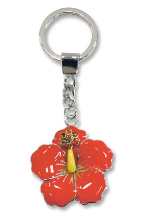 Metal Bling Keychain Hibiscus