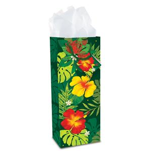 Wine Gift Bag, Floral Monstera