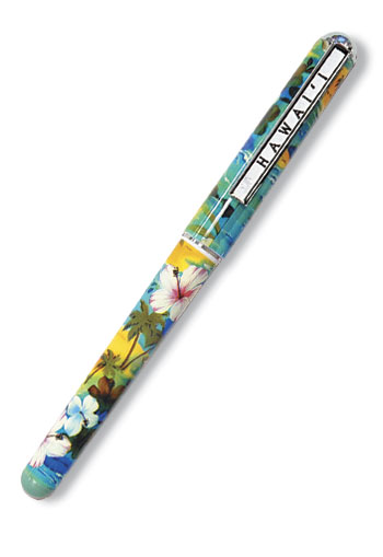 Single Rollerball Pen, Hibiscus Palm Turquoise