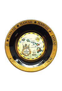 Collectible Souvenir Plate - Islands of Hawaii (Tan)