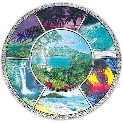 COLLECTIBLE SOUVENIR PLATE - Hawaii Montage by Ann Cecil