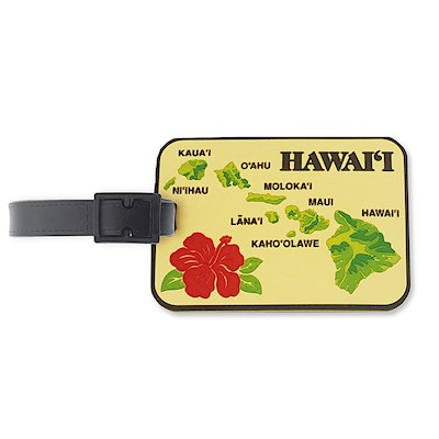 PVC ID/Luggage Tag, Islands of Hawaii - Tan