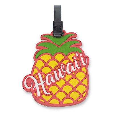 PVC ID/Luggage Tag, Pineapple Hawaii - Pink