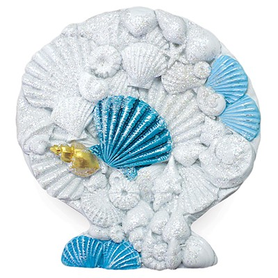 Coastal HP Polyresin Magnet,- Shell with Shells -