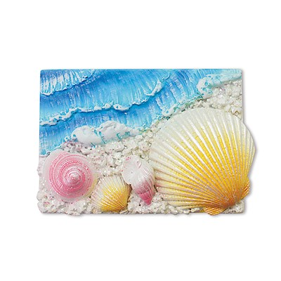 Coastal HP Polyresin Magnet,- Rectangle - 4 Shells -