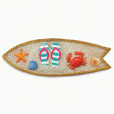 Coastal HP Polyresin Magnet,- Surfboard with Crab -