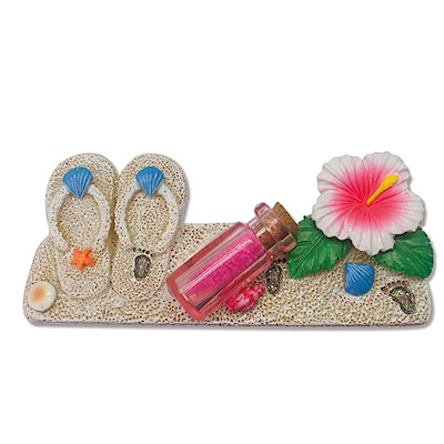 Coastal HP Polyresin Magnet,- Slippers/Bottle/Hibiscus -