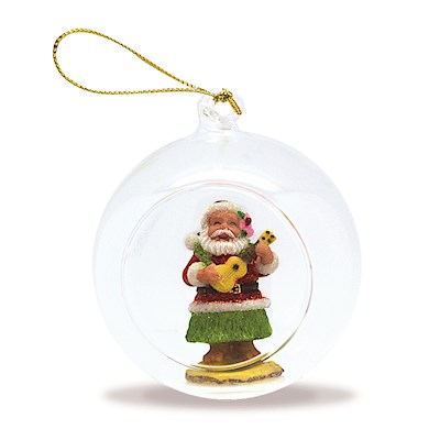 Glass Globe Ornament, Ukulele Santa