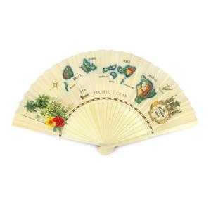 Island Fabric Fan, Islands of Hawaii - Tan
