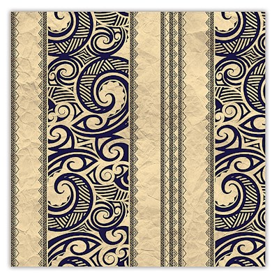 Rolled Gift Wrap, Tribal - Tan