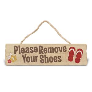 Wooden Hanging Sign, Please Remove Your Shoes