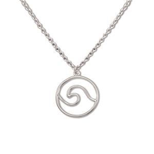 Charm Necklace, Wave - Silver