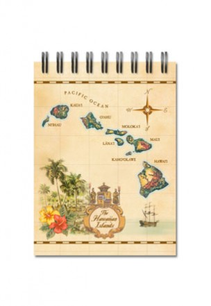 Notebook Small 50-sht, Islands of Hawai'i - Tan