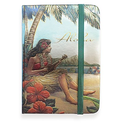 Foil Notebook w/ Elastic Band SM, Vintage Hawaii